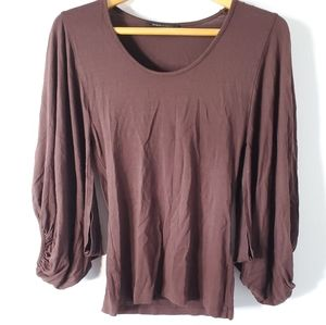 BCBGMaxAzria Brown Billow Sleeve Top
